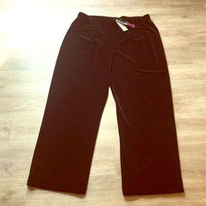 NWT Peck & Peck Black Velvet/Velour-type Pants